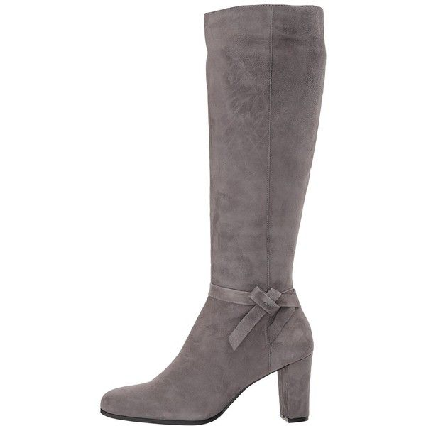 Bandolino Bellow (Steel Satin Kid Suede) Women's Shoes (555 BRL) ❤ liked on Polyvore featuring shoes, boots, knee-high boots, steel boots, suede boots, knee high boots, knee high heel boots and over-knee boots