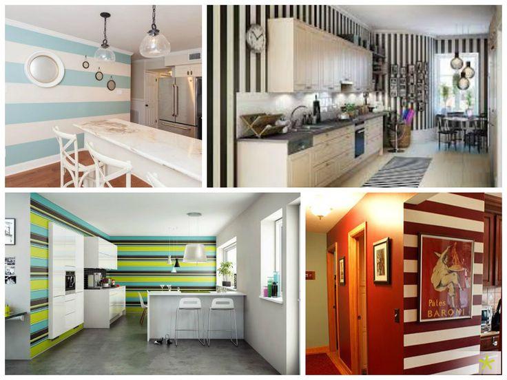 #Cocinas Con Paredes A Rayas. Una Idea Para Animar La #decoración De Tu