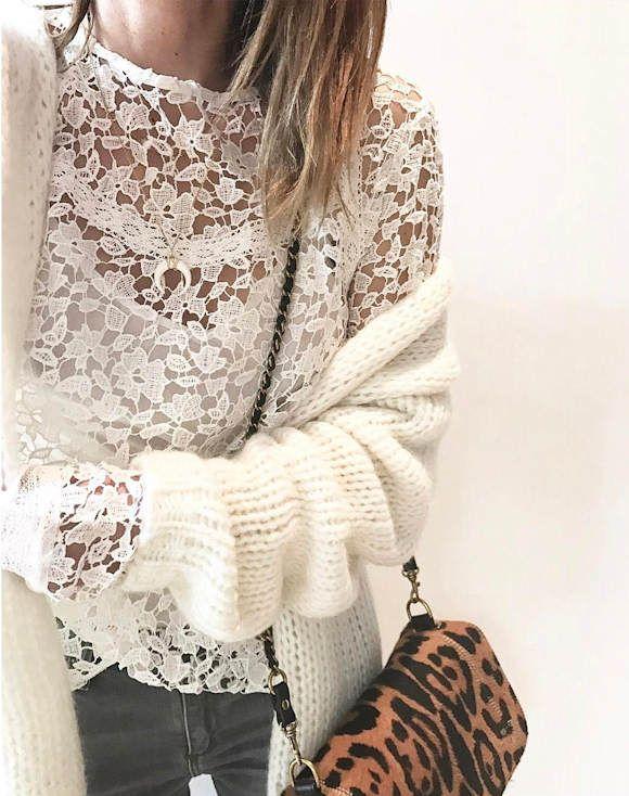 Top en guipure blanc + gilet en maille côtelée + sac léopard Jérôme Dreyfuss >> http://www.taaora.fr/blog/post/look-feminin-et-decontracte-top-guipure-blanc-feminin-gilet-cotele-pochette-leopard #look #outfit