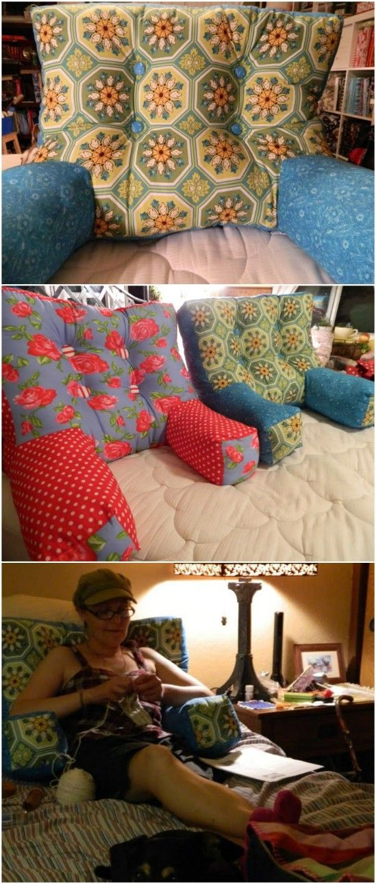 Sew a backrest pillow with cushy arms.