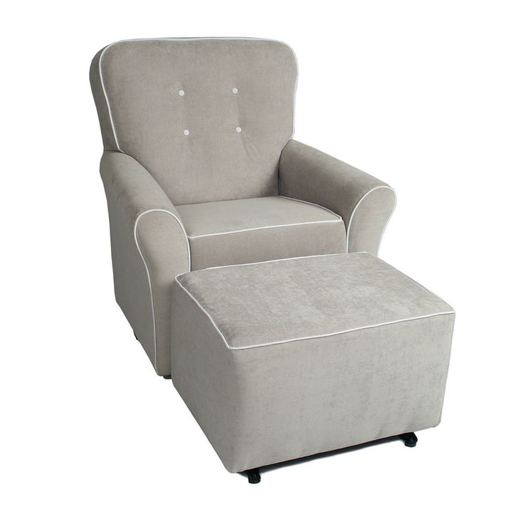 Chair A Try Kacy Collection Morgan Nursery Swivel Glider Crushed Silver Fabric With White Contrast Piping Little Castle Furniture Babies R Us