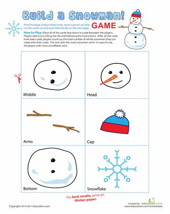 Worksheets: Snowman Game: Build a Snowman! You need a free membership to view this hand-out . . .