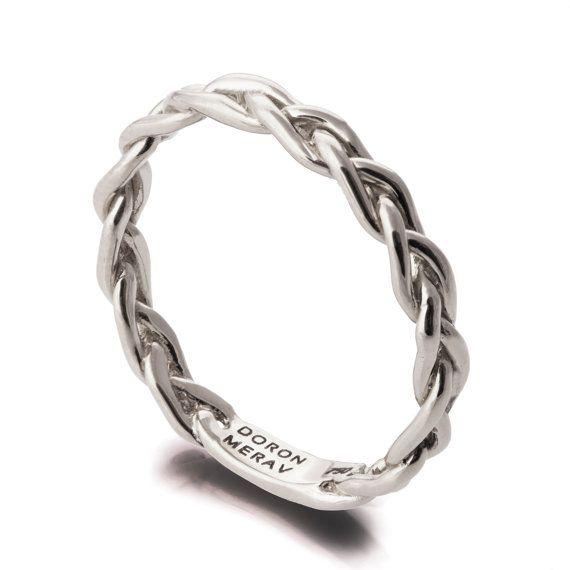Braided Ring, 18K White Gold Stackable Ring , Wedding Band , white gold wedding…