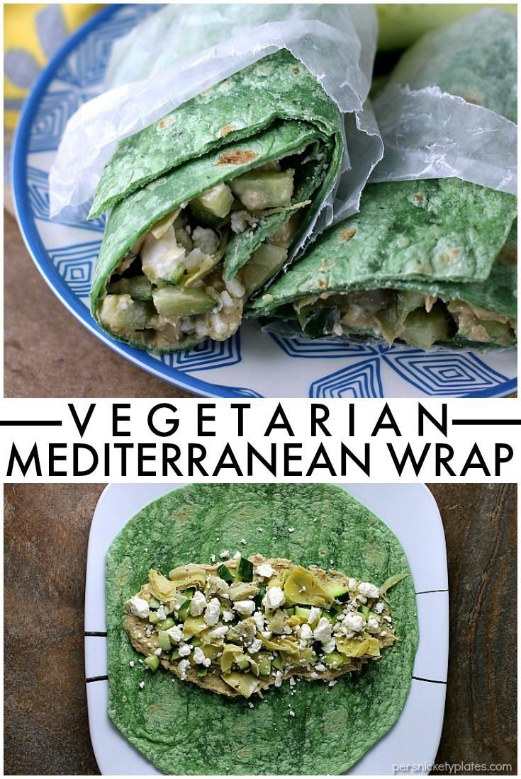 Vegetarian Mediterranean Wrap is a fresh, healthy vegetarian sandwich that takes all of five minutes to throw together. It's great for an on-the-go lunch!  | Persnickety…