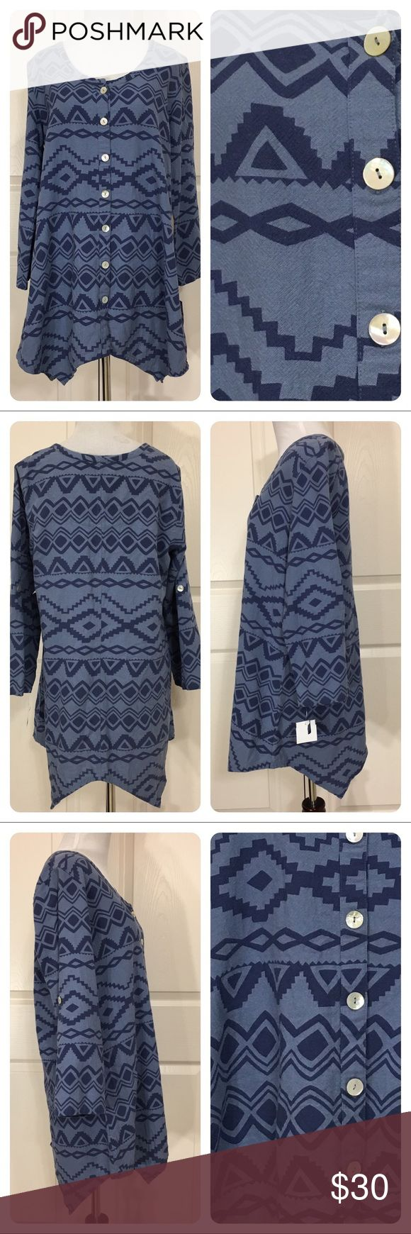 NWT! Soft Surroundings top New with tags from a secondary market store. Fun southwest print - blue on blue - top from Sof Surroundings. Asymmetric hem. Button front. No flaws noted. Soft Surroundings Tops