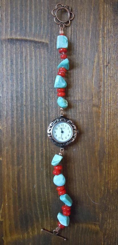 Orologio color rame con turchese e corallo di ilfiorecreativo