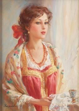 Young woman in traditional Russian attire by Vladislav Nagornov | Blouin Art Sales Index