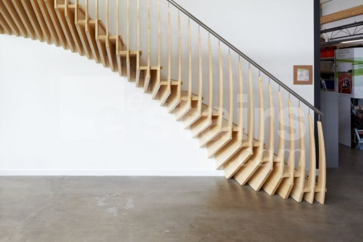 Straight stairs wood by eestairs stairs staircases for Escalier exterieur original