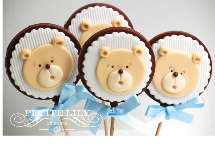 Teddy bear belgian chocolate Pops / pirulitos de chocolate belga