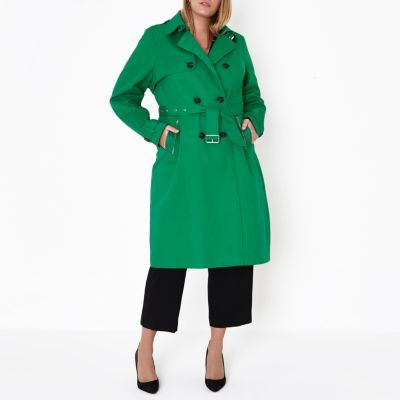 Plus green belted trench coat - Jackets - Coats & Jackets - women