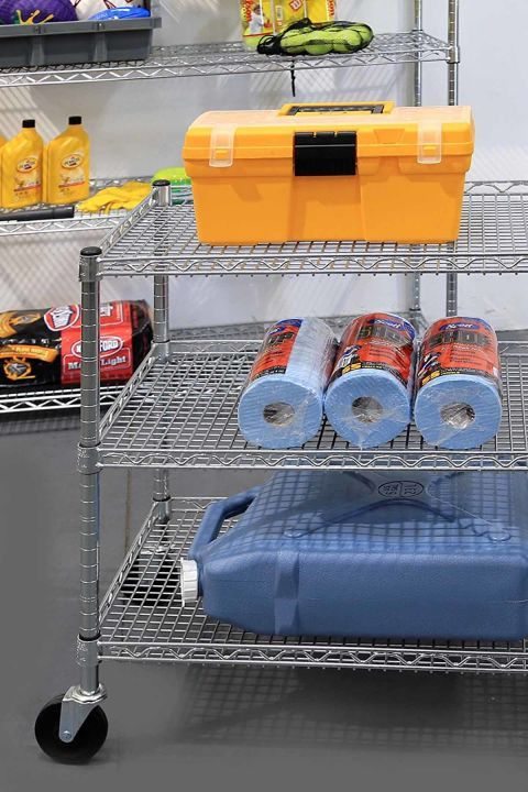 Get a cart on wheels to move it around your garage or to store items you use outside  such as gardening tools.