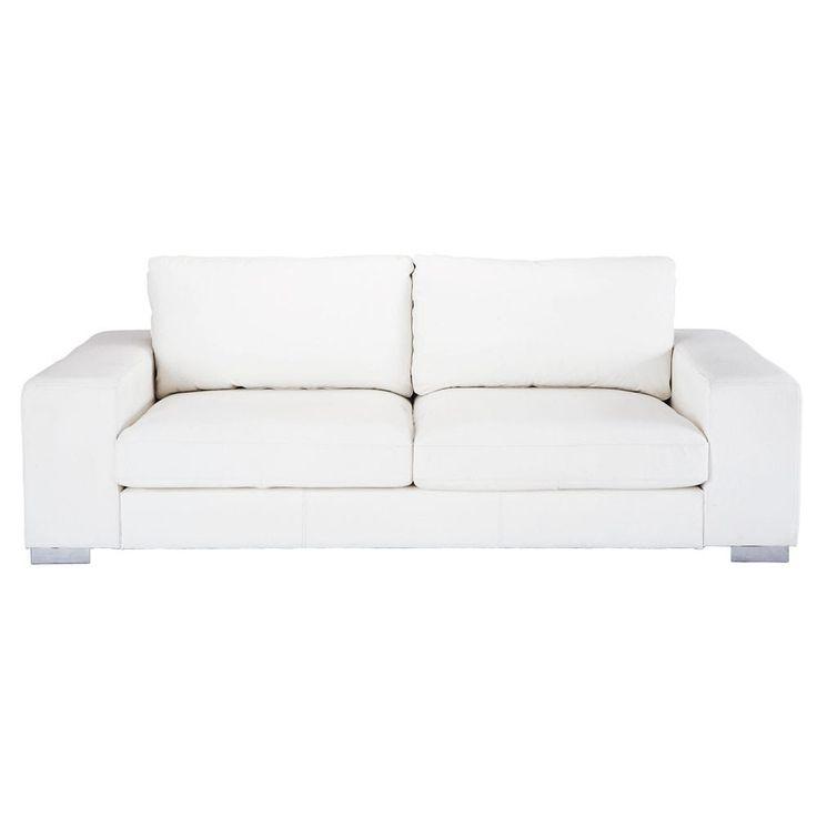 Sofá de 3/4 plazas de cuero blanco