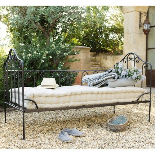 2 seater cotton and wrought iron bench seat in brown