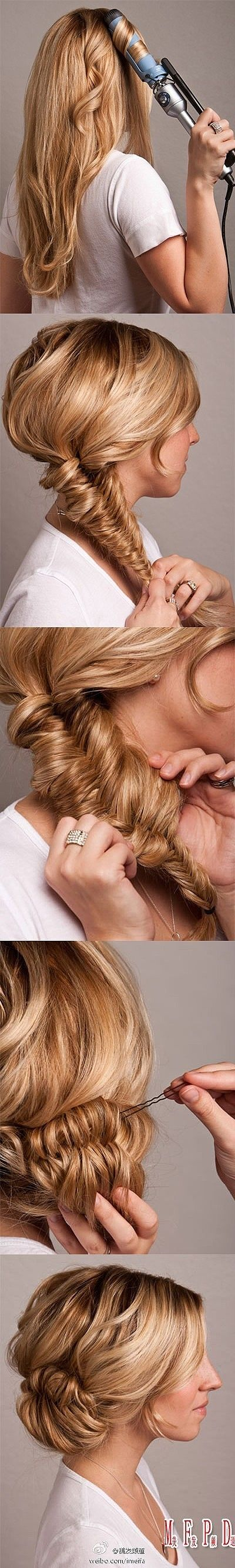 Fishtail bun updo. We love this DIY hairdo. Take a trip to your local Duane Reade for hair tools and products.