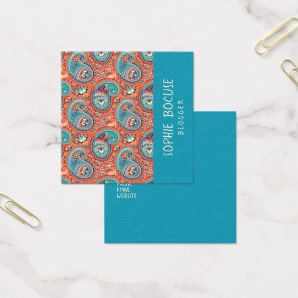Paisley Pattern Renaissance Teal Orange Square Business Card - diy cyo personalize special gift idea