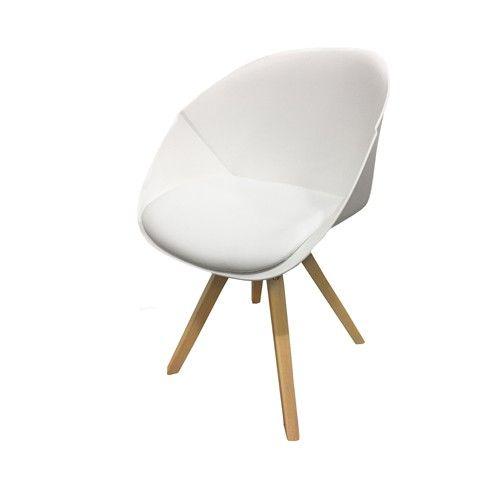 Het nieuwste ontwerp van Kick, de designstoel Jax. Uitgevoerd met eiken poten onder een comfortabele kuip met pu zitting. De topper is verkrijgbaar in wit, grijs en zwart