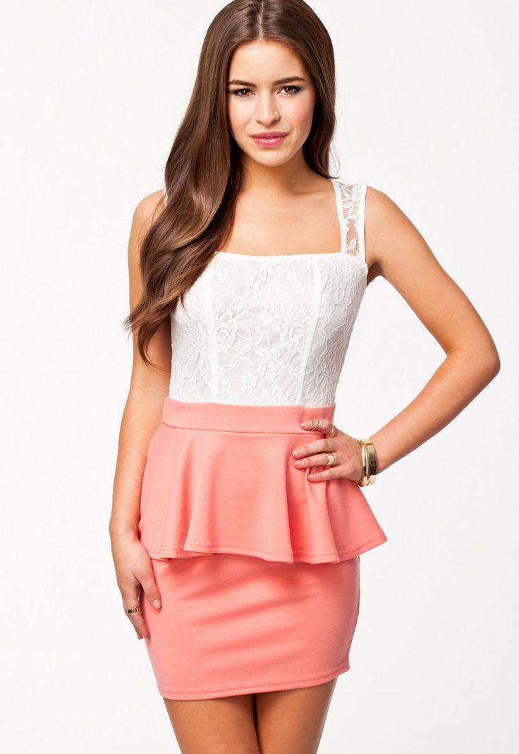 Coral Lace Party Princess Sexy Peplum Dress