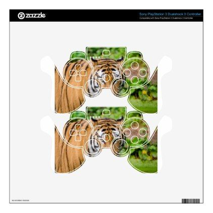 Bengal Tiger on Green Grass PS3 Controller Skins - cat cats kitten kitty pet love pussy
