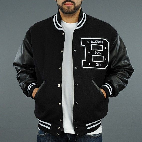 Billionaire Boys Club BBC Men Varsity Jacket Black Cheap [Billionaire Boys Club BBC Men Varsity Jacket Black] - $76.80 : letterman jackets cheap