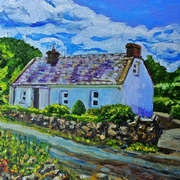 Georgian Cottage Castle Lough North Tipperary, Oil/acrylic on canvas, 10 x 14 ins, latest work from Belfast artist, Laura Butler is now on New Irish Art