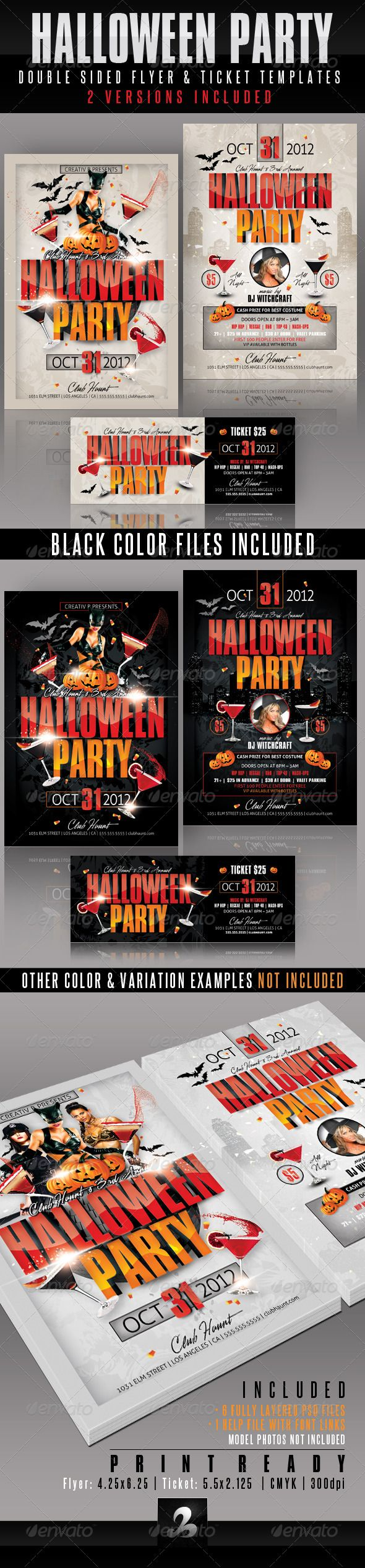 halloween party flyer and ticket templates graphicriver use this flyer design for any halloween party
