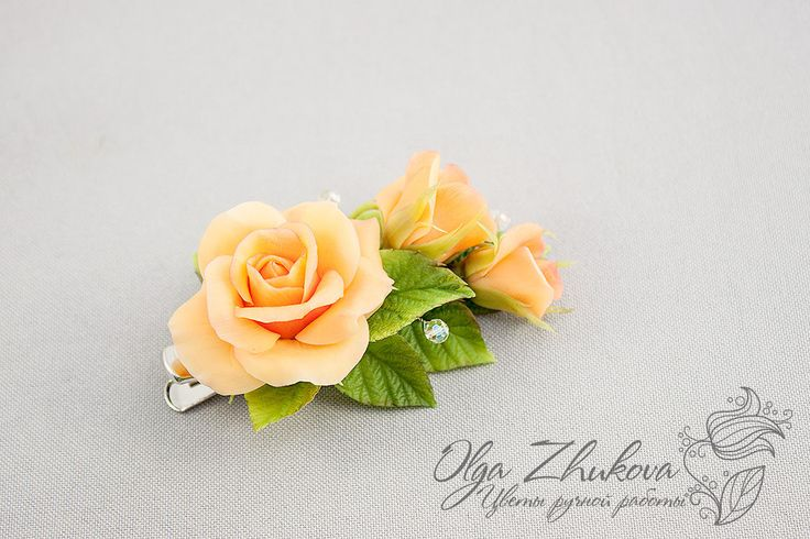 Hair clip with roses by polyflowers on DeviantArt