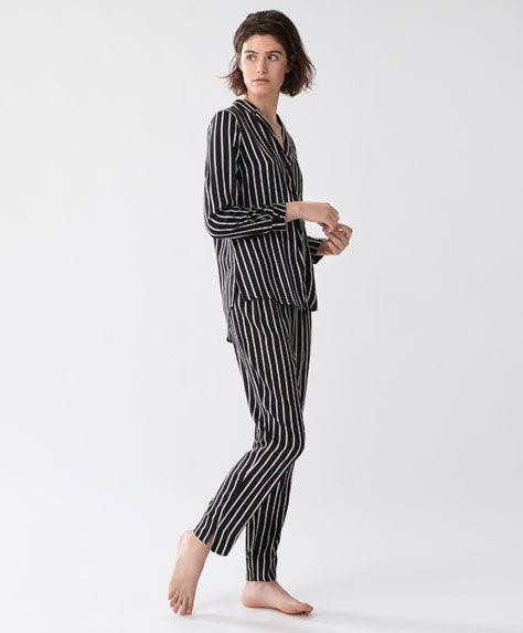 Pantalón largo rayas - null - Rebajas de Invierno en moda de mujer en Oysho online: ropa interior, lencería, ropa deportiva, pijamas, bodies, camisones, complementos, zapatos y accesorios.