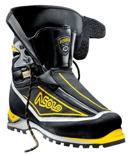 Asolo Eiger GV - Men's  FEATURES of the Asolo Men's Eiger GV Upper: High resistance polyamide fabric microfiber Gaiter: SuperFabric Technical Fabric Lining: Gore-Tex Duratherm Asoframe: Carbon Kevlar Anatomic Footbed: Lite 3 Sole: Vibram 1229 Mulaz Dual-density micro porous midsole PU Dual Integrated System insert Fit: MM Weight: 1/2 pair: 805 grams SPECIFICATIONS of the Asolo Men's Eiger GV Upper: High resistance polyamide fabric microfiber Lining: Gore-Tex Duratherm Asoframe: Carbon Kevlar…