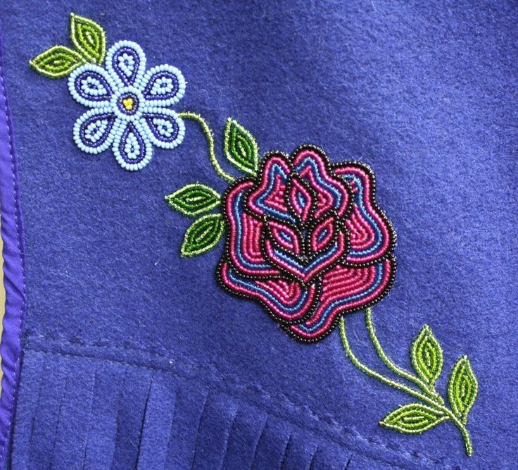 Native American Floral Beadwork | Floral bead design on a fabric vest by a Tlicho Citizen, Behchoko ...