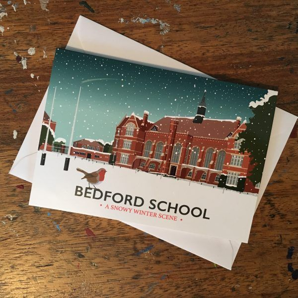 Bedford School Christmas Card  £1.50  Bedford School captured in a snowy winter scene.  Each card is an A6 (105 x 147mm closed size) glossy high quality printed Christmas card, which comes with a white envelope in a cellophane bag.  Blank inside.  A multi pack is also available, please see my other listing.