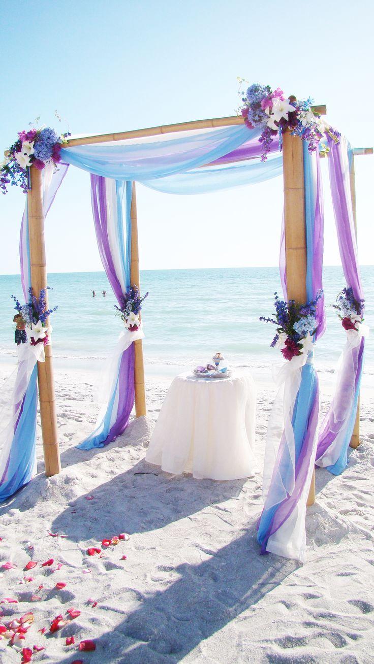 # light blue # purple beach wedding