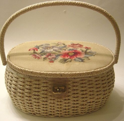 Best Sewing Baskets | Vintage wicker sewing basket needlepoint top with notions