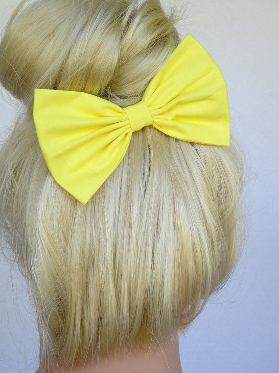 Bright Yellow Hair Bow for girls hairbow bows for by JuicyBows