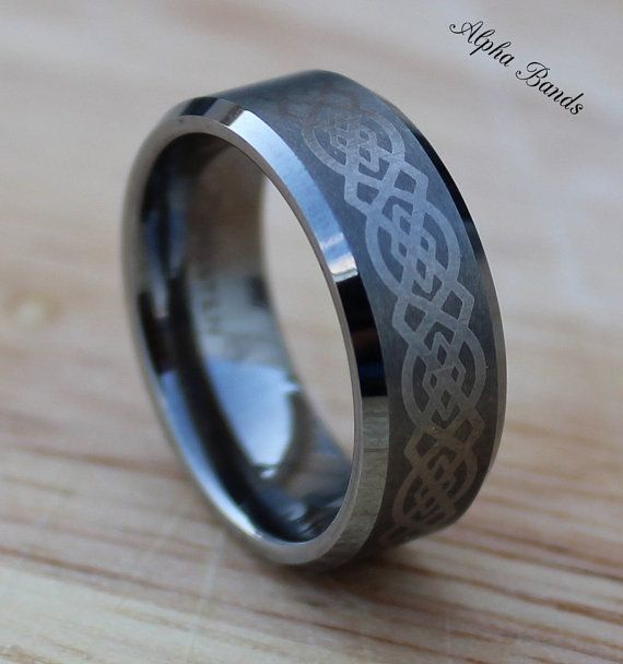 Celtic Knot Tungsten Carbide Men's Wedding Band, 8MM, Comfort Fit, Tungsten Ring, Sizes 8-12