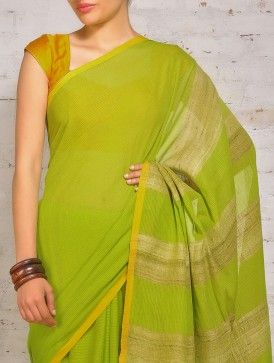 Green Yellow Cotton Khadi Tussar Saree