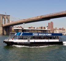 """Welcome to the East River Ferry.....Relax. We'll Get You There.Between Midtown and the Financial District via Brooklyn Its tagline isn't """"the civilized commute"""" for nothing. Alongside harried New Yorkers heading to work, you'll pass under the majestic trio of bridges that connect Manhattan and Brooklyn; soak in the Manhattan skyline, historic Jane's Carousel in DUMBO, and both Governor's Island and Lady Liberty in the distance as you sip a cup of Brooklyn Brewery java from the boat's café."""