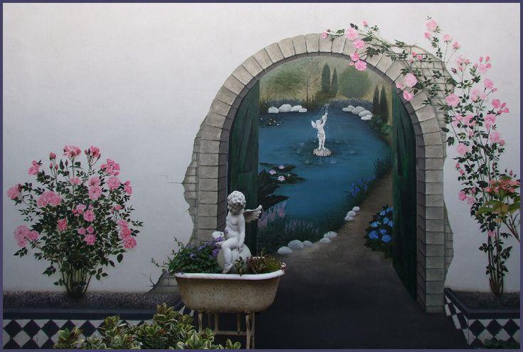 Muurschildering rozentuin.