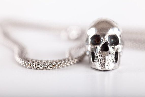 Ciondolo Teschio SMALL - (made in ITALY, Sterling Silver 925)  #Skull #Pendant #FeelNoPain #Silver #Human #Humanskull #jewelry #Biker #Tattoo #Tattoos