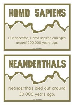 A printable set of 20 fact cards that give fun and interesting facts about the Stone Age. Each fact card has a key word heading, making this set extremely useful for building on topic vocabulary! Also great for Stone Age to Iron Age units! Visit our TpT store for more information and for other classroom display resources by clicking on the provided links.