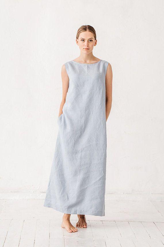 Abito in lino abito in lino blu polveroso abito con di Linenfox
