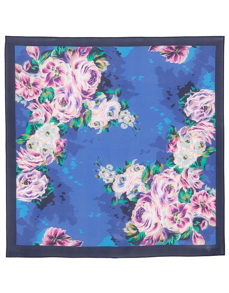 Blue Silk scarf ''Intrigue and Love'' | RusClothing.com  #silk #floral #pattern #scarf #kerchief #headscarf #shawl