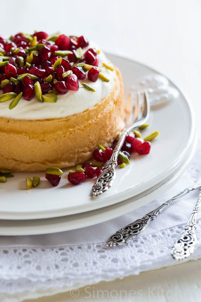 Rosewater, pistachio and pomegranate sponge