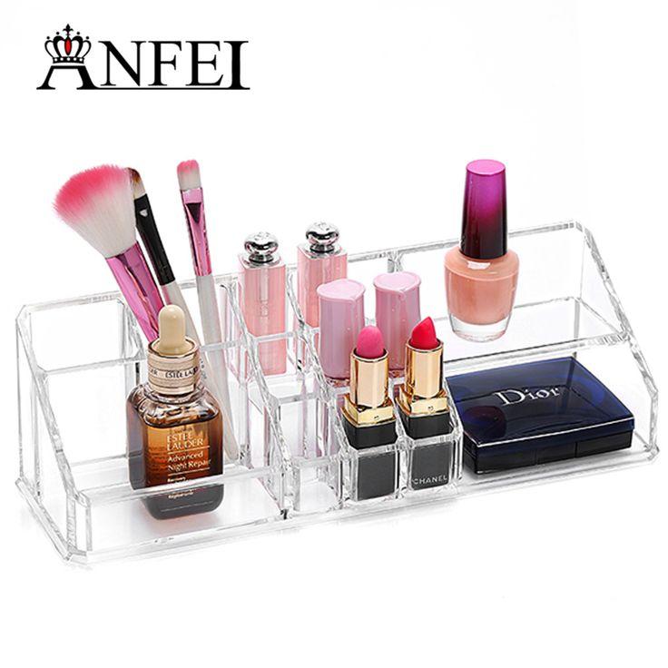 ANFEI Acrylic Nail Polish Holder Box Lipstick Organizer Case Jewelry Storage Box Makeup Organizer Cosmetic Box Display Stock #Affiliate