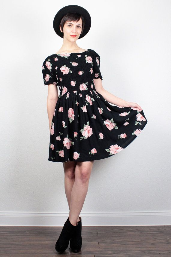 """Vintage 90s Dress Floral Print Babydoll Dress - I hate florals...unless I can wear them with giant boots. May the """"grunge"""" revival never end!"""