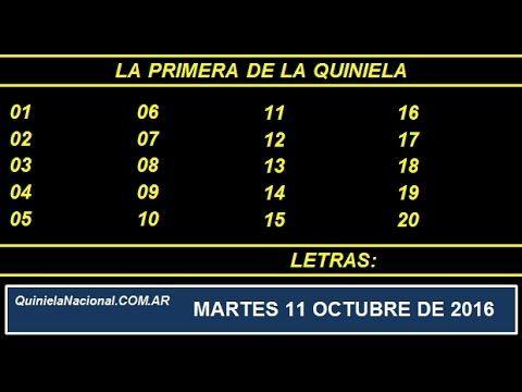 Quiniela - El Video oficial de la Quiniela La Primera Nacional del día Martes 11 de Octubre de 2016. Info: www.quinielanacional.com.ar
