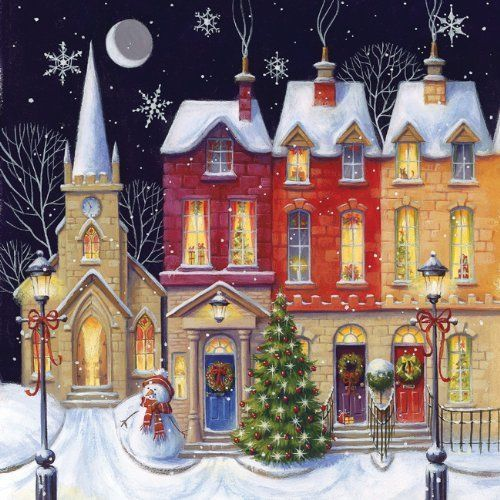Christmas Wishes Cards  Row Of Houses Artistic Scenic Gloss Finish (Pack Of 5)
