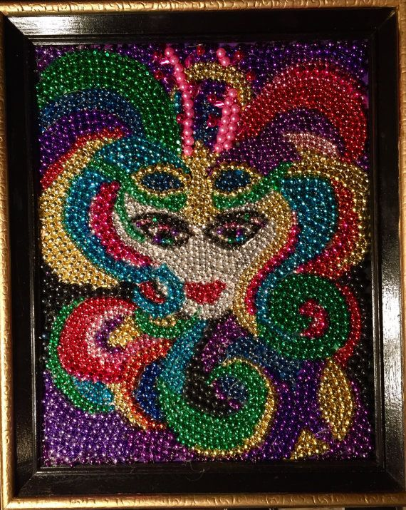 Mardi Gras, bead art, Mardi Gras beads, bead art,
