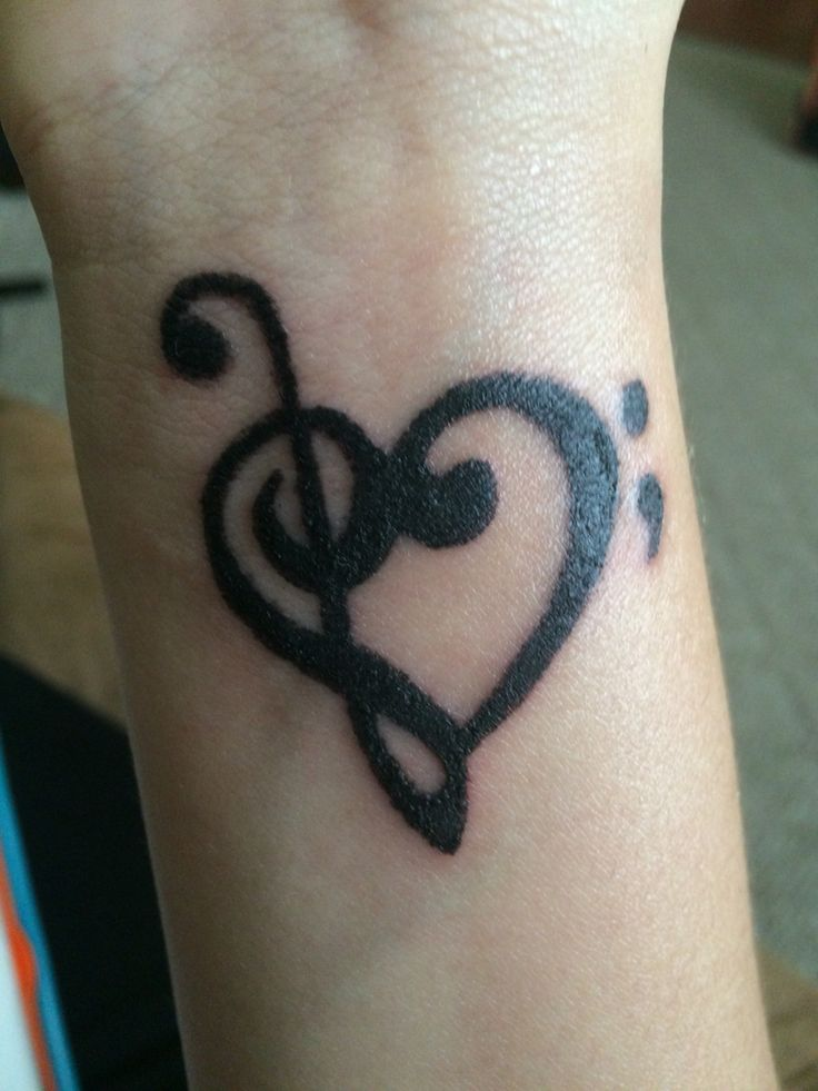 Treble and bass clef heart with semi colon our tattoos for Treble bass heart tattoo
