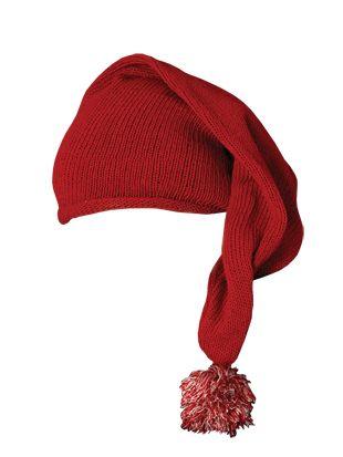 Nissehue, strikket, rød, One Size ØNSKER - 2 stk