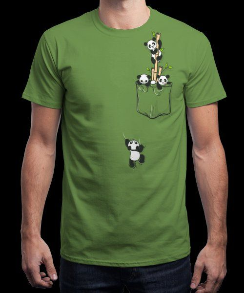 """Pandas in my pocket"" is today's £8/€10/$12 tee for 24 hours only on www.Qwertee.com Pin this for a chance to win a FREE TEE this weekend. Follow us on pinterest.com/qwertee for a second! Thanks:)"